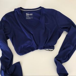Blue Nike drifit drawstring crop long sleeve